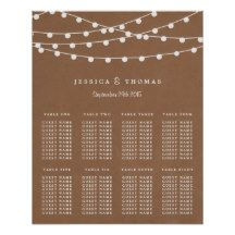 """Simple yet elegant, the string lights on rustic burlap wedding collection is a stunning design featuring lovely white hanging string lights on a burlap effect background, which is perfect for any rustic wedding celebration.   This seating chart can be personalised for your special occasion and would make the perfect table planner for your wedding, bridal shower, engagement party, birthday party and many more special occasions.    Add your custom wording to this design by using the """"Edit…"""