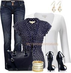 """""""Dotted Blouse & White Cardigan"""" by casuality on Polyvore. Love the polka dot blouse"""