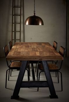 Made of reclaimed elm wood and and solid iron A-frame base, these tables are unique. The timber is up to 150 years old and comes from old front doors that we salvage from farmhouses being demolished in rural China. Timber Table, Metal Tables, Dining Furniture, Wood And Metal, Iron, Living Room, Interior, Dining Tables, Inspiration