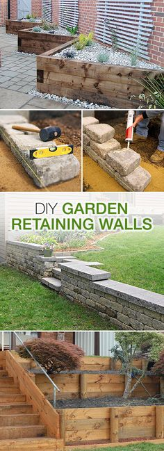 DIY Garden Retaining Walls DIY Garden Retaining Walls Lots of tips ideas and tutorials Garden Retaining Wall, Landscaping Retaining Walls, Front Yard Landscaping, Landscaping Borders, Retaining Wall Steps, Landscaping Rocks, Landscaping Software, Backyard Projects, Outdoor Projects