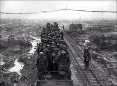 Train carrying British troops to Flanders c.1914