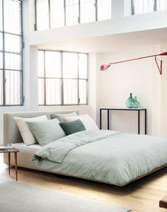 Vergrijsd groen in slaapkamer | Marc O'Polo Washed Linen Groen | Essenza