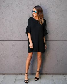 Moon Балки свитер платье - черный