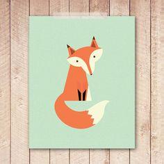 Nursery Art Print Mint Green Fox Art by PaperCanoePrintables, $5.00