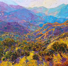 Close-up of California impressionist landscape painting by Erin Hanson.