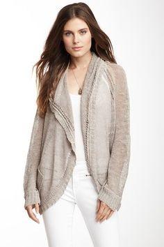 Long Sleeve Hooded Linen Blend Sweater