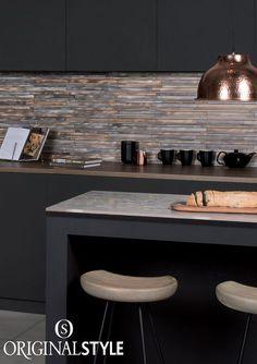 Copper And Grey Kitchen, Grey Kitchen Tiles, Grey Kitchen Designs, Copper Kitchen Decor, Kitchen Layout, Kitchen Colors, Interior Design Kitchen, New Kitchen, Cooper Kitchen