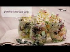 Summer Ambrosia Salad | Tatua Foods Ambrosia Salad, Cabbage Salad, Salad Ingredients, Summer Fruit, Potato Salad, Berries, Peach, Foods, Vegetables