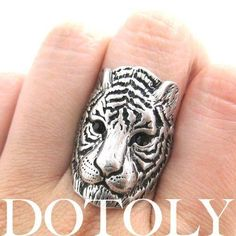 Tiger Lion Shaped Animal Ring in Silver with Textured Fur Detail | DOTOLY