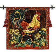 Rooster Rustic BW Tapestry
