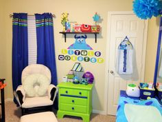 love our Monster's inc nursery! I was able to purchase a nightstand and dresser at garage sale prices. I painted them to reflect the Monster's Inc. theme and the came out perfect with the decals and set from Babies R US Monsters Inc Bedroom, Monsters Inc Baby, Disney Monsters, Baby Boy Rooms, Baby Boy Nurseries, Baby Room, Princess Nursery, Girl Nursery, Nursery Themes