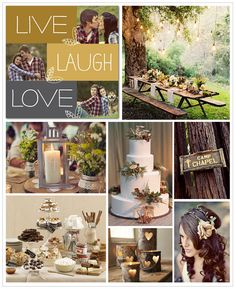 Outdoor Wedding Inspiration Board, with s'mores and all! Like the wedding colors