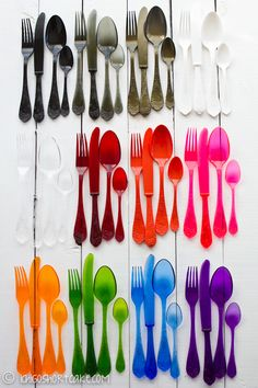 wait a sec...someone wastes money on 12 different colors of plastic flatware, lines them all up and takes a picture and I'm supposed to be inspired by this?