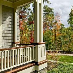 white deck railing wood post | Craftsman Porch Railing Designs Design Ideas,  Pictures, Remodel