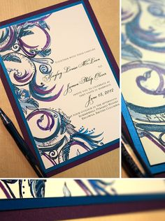 Teal, Royal Blue, and Purple Swirl Wedding Invitation Trendy Wedding, Our Wedding, Dream Wedding, Wedding Stuff, Sister Wedding, Wedding Hair, Bridal Hair, Blue Purple Wedding, Wedding Colors