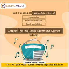 What if your small investment could create great wonders? Maximize your brand reachability and audience engagement with innovative radio ads! Get in touch with the best radio advertising company in India today. Call us: 7678237402 #radioadvertising #fmads #fmadvertising #lowerprices #maximum #radioadvertisingagency #branding #advertisingagency #fmadvertisingcompany #radioadvertisingcompany #jingle #radiostation #fmchannels #radiocommercials #rjmention #audienceengagement #radioads