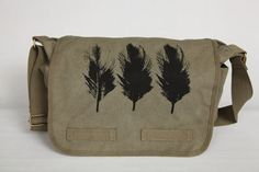 Canvas Laptop Messenger Bag Birds Of A Feather by Bullabags, $40.00