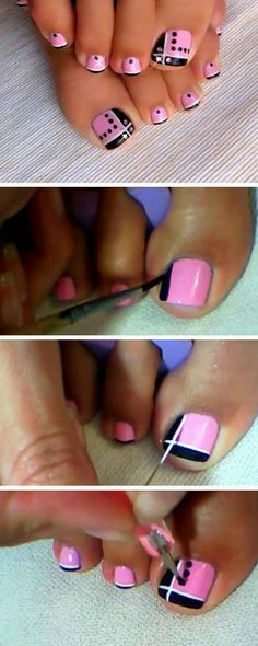 Pink and Black Toes 18 DIY Toe Nail Designs for Summer Beach Easy Toenail Art Designs for Beginners Simple Toe Nails, Cute Toe Nails, Fancy Nails, Toe Nail Art, Easy Nail Art, Trendy Nails, Diy Nails, Nail Designs Toenails, Toenail Art Designs