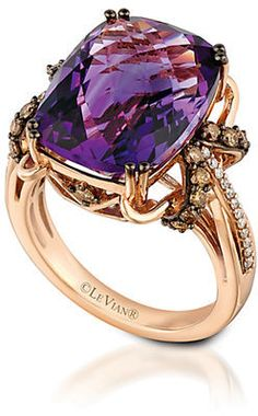 LEVIAN 14Kt Rose Gold Amethyst and Diamond Ring