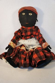 """1890 Black cloth doll with embroidered face 20"""" antique early"""