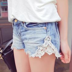 Easy DIY for shorts that are to tight. Just cut the seam and sew in lace!!