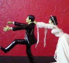Frankenstein Wedding Cake Topper ~ Halloween Wedding ~ Ready to Ship! by ToHellinAHandbag