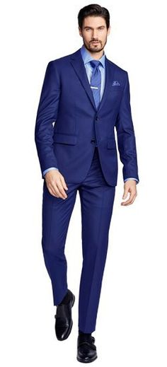 You're in the lap of luxury now. We've taken our most popular solid-colored wool blue suit and blended it with cashmere to heighten its sophistication. Cashmere is king, gentlemen.