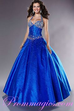 Halter Top Ball Gown With Embellished Bodice Organza Floor Length Royal Blue Prom Dress