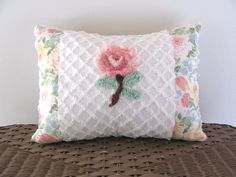 coral pink pillow cover CORAL ROSE 12 X 16 by moreChenilleChateau