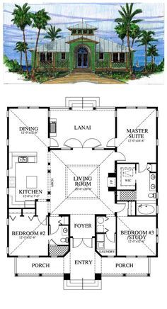 Change to 1800 sq ft Florida Cracker Style House Plan ID: chp-39722 | Total living area: 1867 sq ft, 3 bedrooms & 2 baths