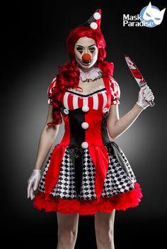 6 Tlg Horror Clown Komplettset Hallowen Damen Kostüm Scary Karneval Fasching S-L