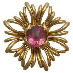 Verdura Pink Tourmaline Gold Ray Brooch