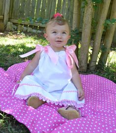 Love our Antique pillow case  baby girl dress