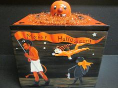 OOAK Halloween Themed Vintage Box Hand Painted by Creativelyjuiced Halloween Goodies, Halloween Themes, Halloween Artwork, Witch Cat, Creepy Art, Vintage Box, Vintage Halloween, Awesome Art, All Art