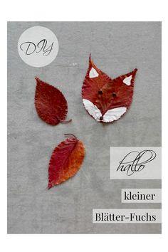 Basteln mit bunten Herbst-Blättern: dieser kleine Fuchs ist ruckzuck fertig Leaf Tattoos, Rooster, Projects To Try, Flag, Crafting, Inspiration, Children, Funny, Gold