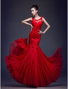 Trumpet/Mermaid Scoop Floor-length Chiffon And Lace Evening ... – USD $ 79.99