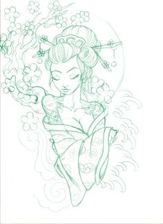 Geisha design (add baby girls freckle next to left eye) Tattoo Sketches, Tattoo Drawings, Body Art Tattoos, Art Sketches, Sleeve Tattoos, Art Drawings, Hand Tattoos, Geisha Tattoos, Geisha Tattoo Design