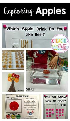Apple activities and ideas for a kindergarten or first grade classroom. Exploring apples= so many great opportunities for math and science!