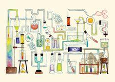 イラストレーターYuni&Nonaのイラストポスター、A4サイズ(297mm×210mm)。題名は「虹から抽出された液体=コーヒー」です。...|ハンドメイド、手作り、手仕事品の通販・販売・購入ならCreema。