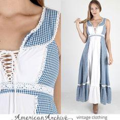 vtg-70s-Gunne-Sax-Dress-Blue-Gingham-Plaid-Lace-Boho-Wedding-Hippie-Party-Maxi-S