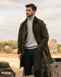 This heavyweight waxed cotton jacket is a modern take on 'Uncle Harry's coat': a design introduced in 1910 and the earliest example of a wax jacket in the Barbour archive. Barbour Jacket Outfit, Glastonbury Music Festival, Rowing Blazers, Waxed Cotton Jacket, Barbour Mens, Wax Jackets, Motorcycle Outfit, One Piece Suit, Heritage Brands