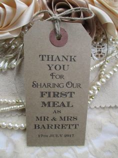Wedding Napkin Ties-Wedding Table Decor Tags Personalised Thank You for Sharing Our First Meal- Wedding Favors by TheIvoryBow on Etsy