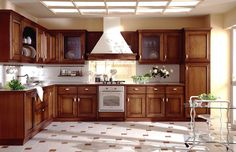 stove and wooden cabinet in contemporary kitchen