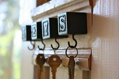 Key holder from children's blocks... cute idea!