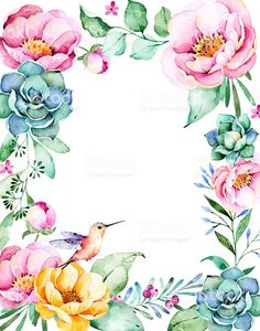 Beautiful watercolor frame border with roses,flower,foliage,succulent plant - Royalty-free Flower Stock Photo Easy Watercolor, Watercolor Flowers, Watercolor Paintings, Art Floral, Flower Frame, Flower Art, Borders And Frames, Royalty Free Pictures, Botanical Flowers