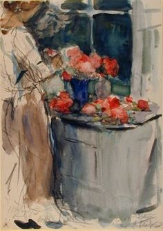Arranging Flowers by Leonid Osipovich Pasternak