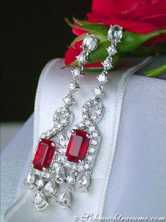 Fabulous Burma Ruby Earrings with Diamonds