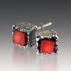 Cubeberry Post Earrings - Oxidized Sterling Silver, Coral $80 by Aleksandra Vali. Artisan Jewelry, Holiday Ideas