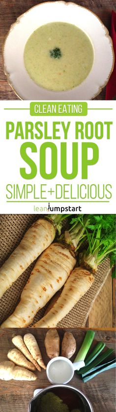 Parsley Root Soup Recipe: a quick and easy clean eating soup paleo dinner easy Clean Eating Soup, Clean Eating Recipes, Healthy Eating, Cleanse Recipes, Easy Soup Recipes, Healthy Recipes, Dinner Recipes, Paleo Dessert, Eating Organic