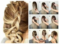 How to do a dutch braid? Ways to make dutch braid. Steps for inverted french braid. Tutorial for dutch braid. Steps to style a simple dutch braid. Latest Braided Hairstyles, Twist Braid Hairstyles, Braided Hairstyles Tutorials, Long Thin Hair, Thick Hair, Braiding Your Own Hair, Ball Hairstyles, Stylish Hair, Images Gif